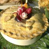 Chicken pie in a glued-wood baking mold
